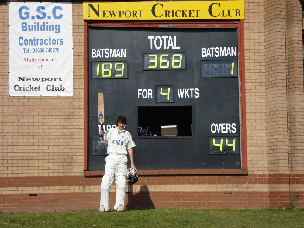 A 15 year old me celebrating scoring my first 100
