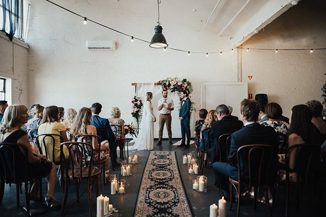 W A R E H O U S E  W E D D I N G // Adrian + Olivia ❤️ Venue: @gatherandtailor / Furniture: @peppersprouthire / Event & Catering: @potandpanmelbourne / Photography: @georgiaverrells / Floristry: @littleladyblooms