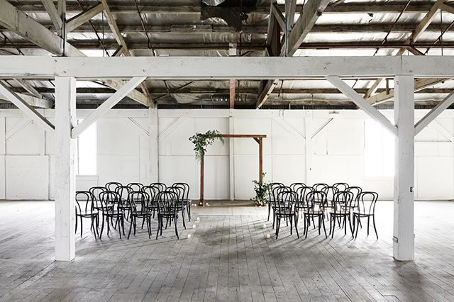 Images of our Black Bentwoods + Timber Arch for a ceremony set up at the new @gatherandtailor  dream space 😍