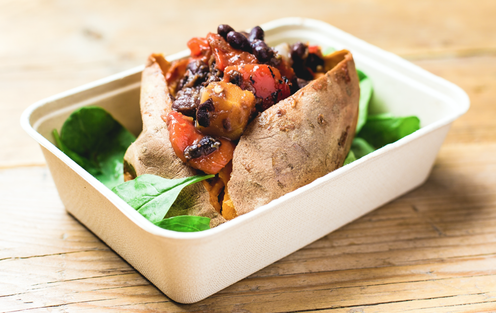 Brazilian Bean Baked Sweet Potato