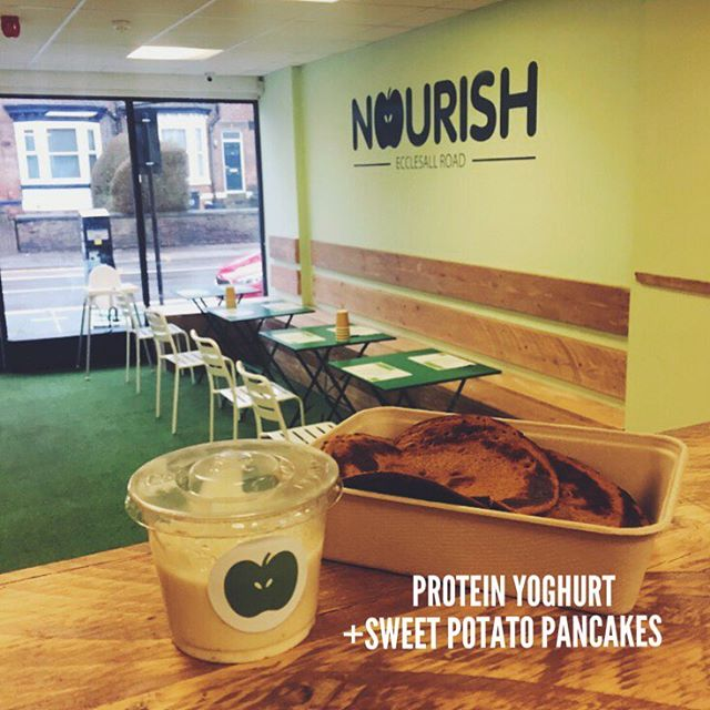 Have you tried these Sweet Potato Pancakes yet? 😍  Our Ecclesall Road shop is stocked with our tastiest best sellers, and all in a convenient location 🏃🕓 • • • --------------------------------/------------------------------ #nourish #lovenourish #sheffield #food #foodporn #vegetarian #vegan #pancakes #gum #gymmotivation #tuesday #lunch #veganfood #vegetarianfood