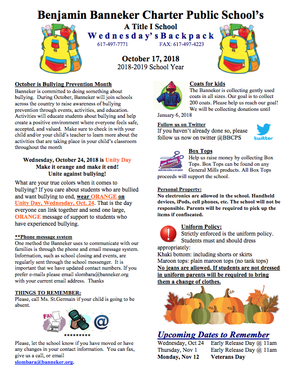 Download link for the October 17th Backpack    Peace of Mind    BBCPS Food Market