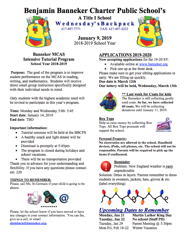 Download Link for the January 9th Backpack    Banneker Food Pantry