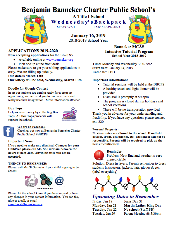 Download Link for the January 16th Backpack    Banneker Food Pantry    Doodle for Google
