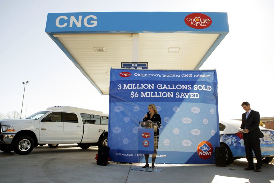 Governor Mary Fallin speaks Thursday at OnCue Express in Oklahoma City to celebrate its sale of 3 million gallons of compressed natural gas.  Photo by Garrett Fisbeck, The Oklahoman