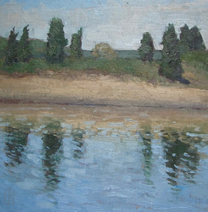 South River Glittering  12 x 12 oil on linen  sold