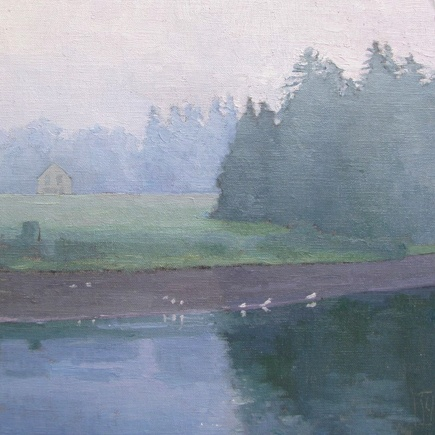 Fog on the Field  12 x12 oil on linen  sold