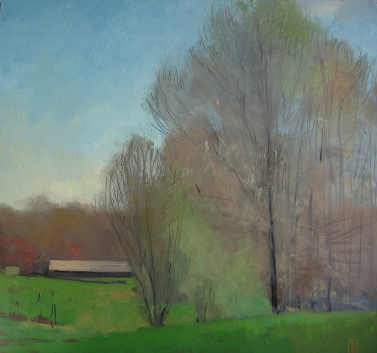 Jacob's Farm  oil and charcoal on panel 30 x 30  sold