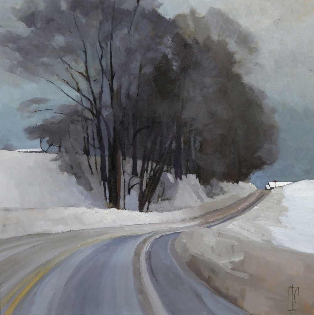 Road in Winter  oil on linen 30 x 30  sold