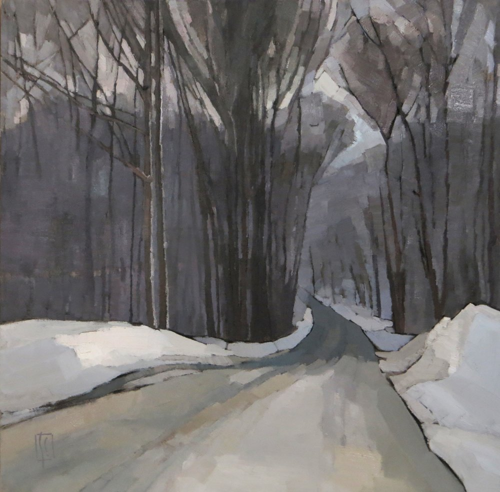 Winter Woods  23.5 x 23.5 oil on linen  First Prize Oil Painting Newburyport Art Association Winter Juried Show Karen Haas Juror,  Curator MFA  sold