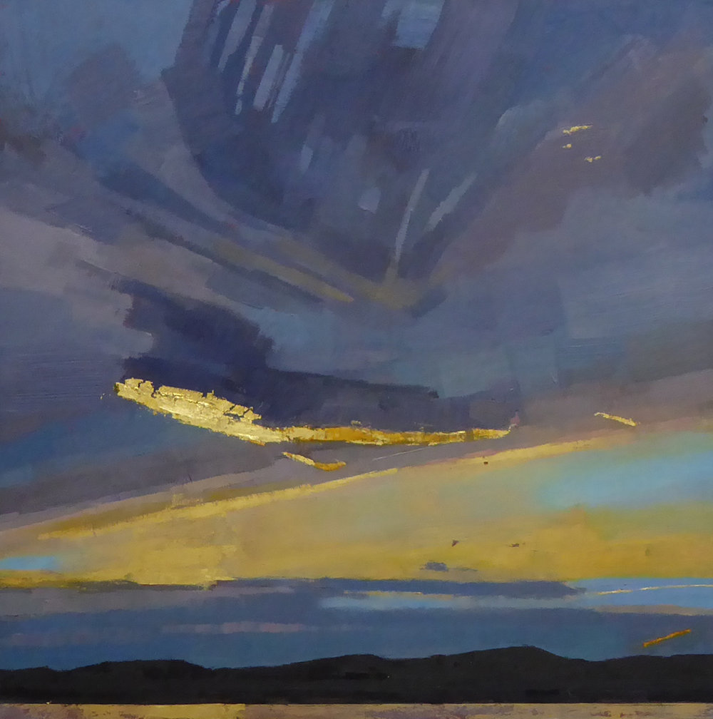 Avenging Sky  18 x 18 oil and 23K gold on wood panel  Alpers Gallery, Andover, MA  sold