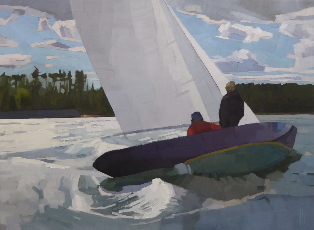 Late Summer Sail  30 x 40 oil on linen   Islesford Artists