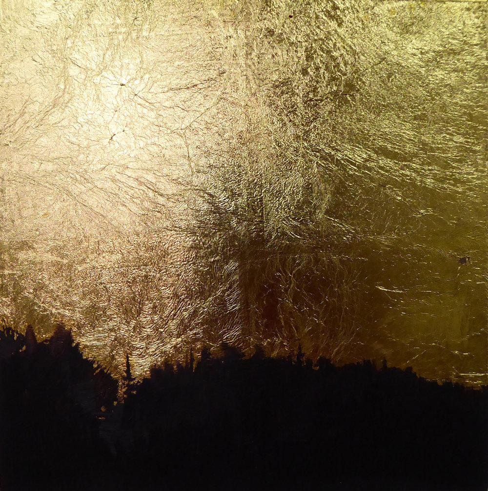 Treeline II  oil on 23K gilded wood panel 6 x 6  sold