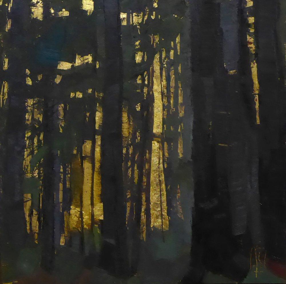 Woods  12 x12 oil on gilded wood panel  Newburyport Art Regional Show May 5 - June 3