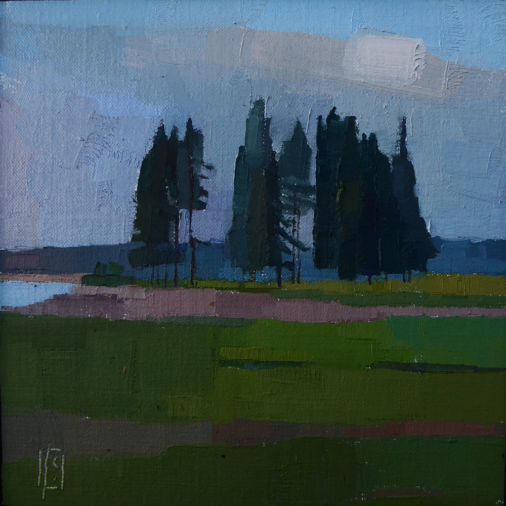 Bigwigs Study  6 x 6 oil on linen panel   Islesford Artists Gallery
