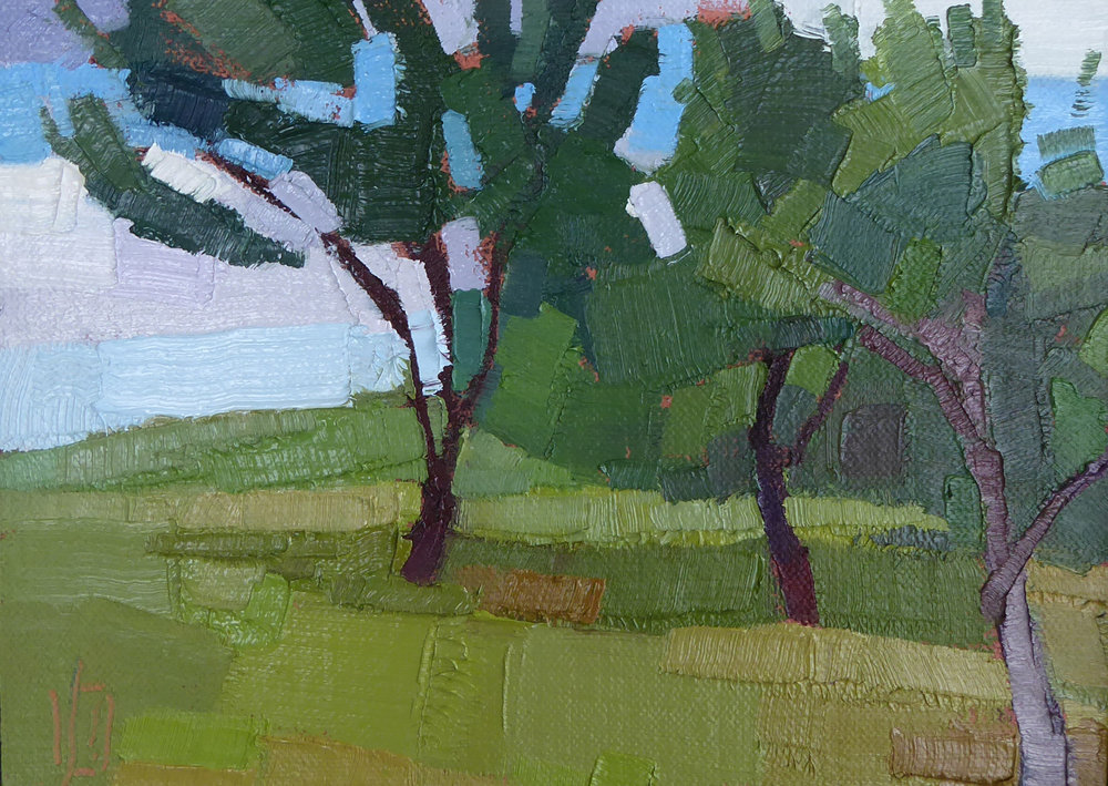 On A Hill  6 x 8 oil on linen   Islesford Artists Gallery