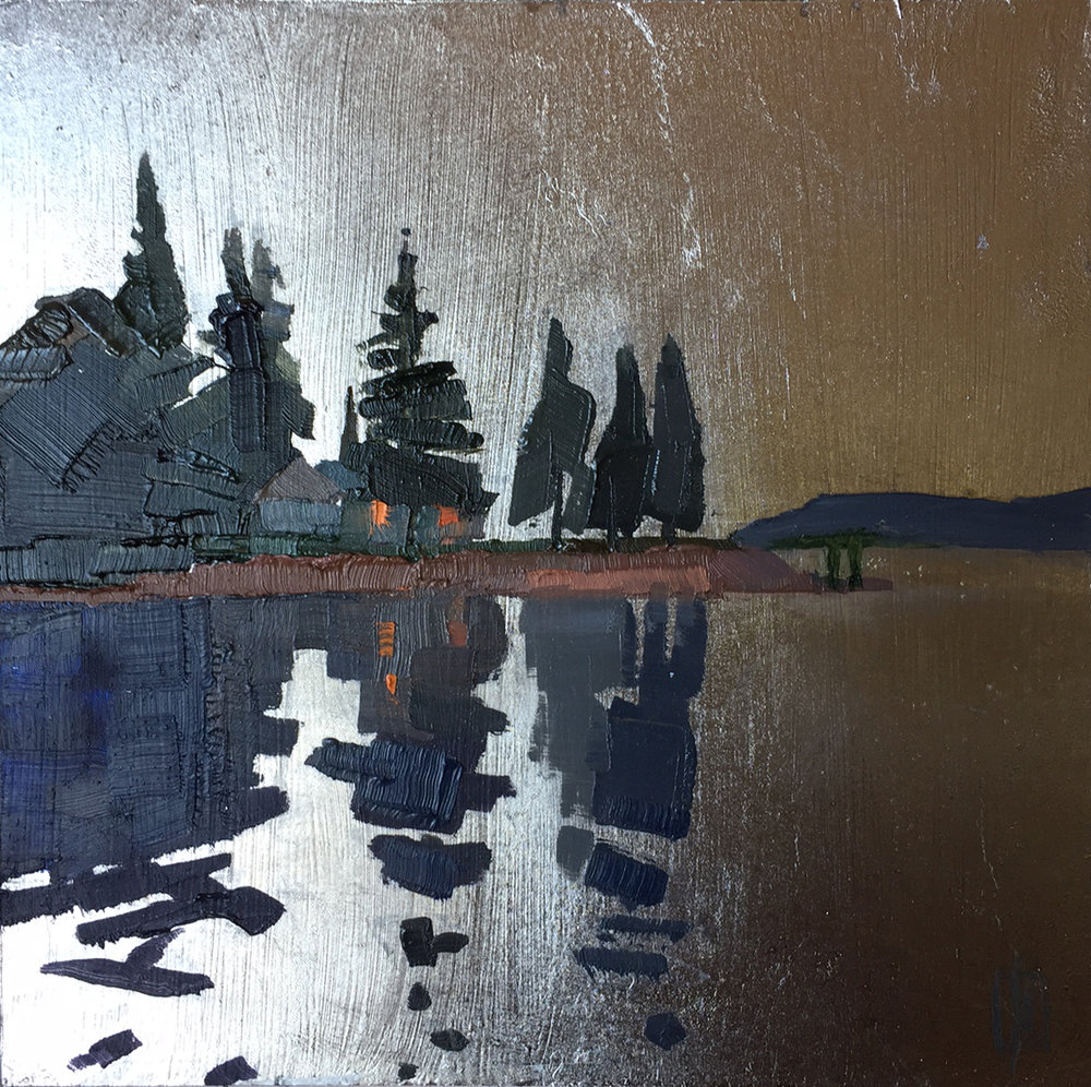 Southwest Harbor Evening  6 x 6 oil on palladium gilded panel  sold   Islesford Artists Gallery