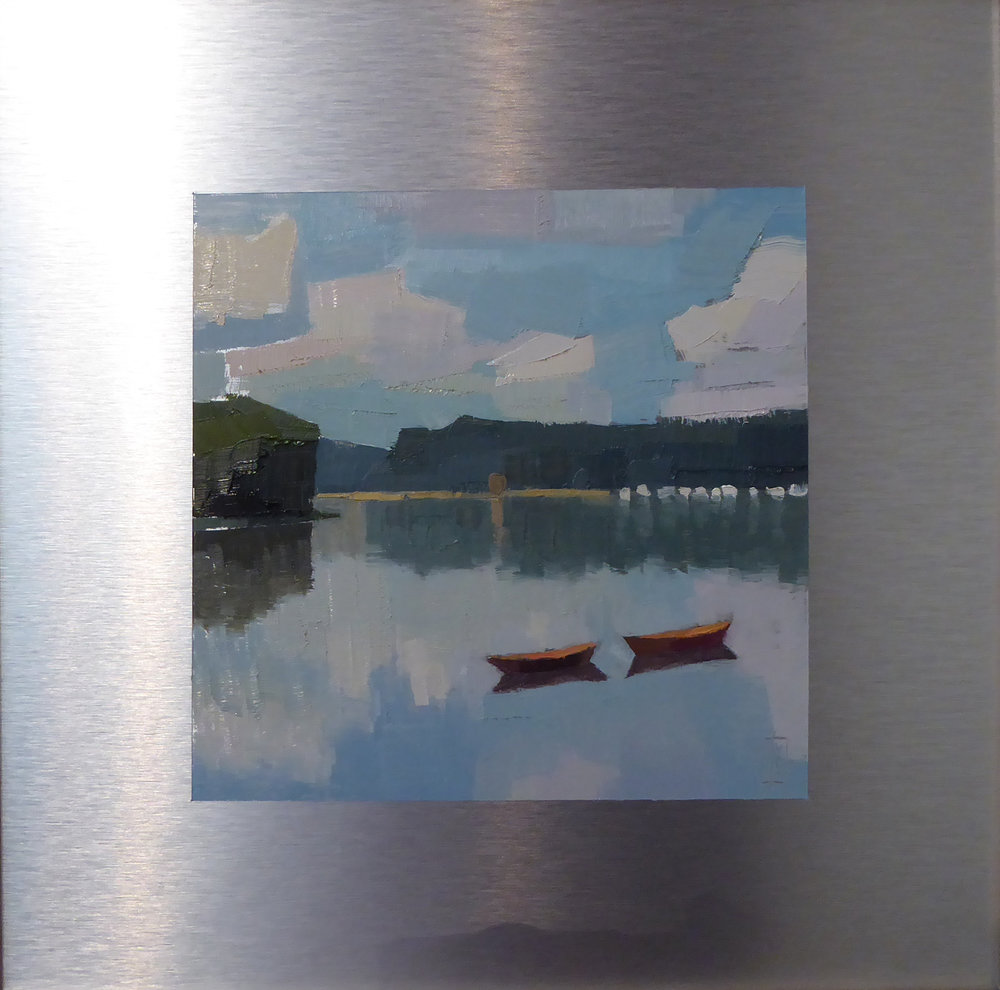 Two Dories  7 x 7 image on 12 x 12 panel  sold