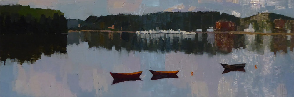 Three Dories  6 x 18 oil on aluminum panel  sold
