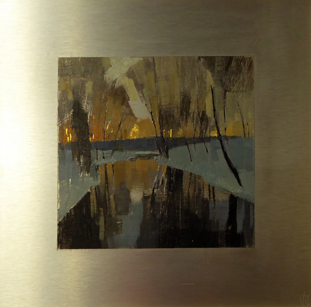 Black River  7x7 on 12x12 aluminum oil and 23K gold