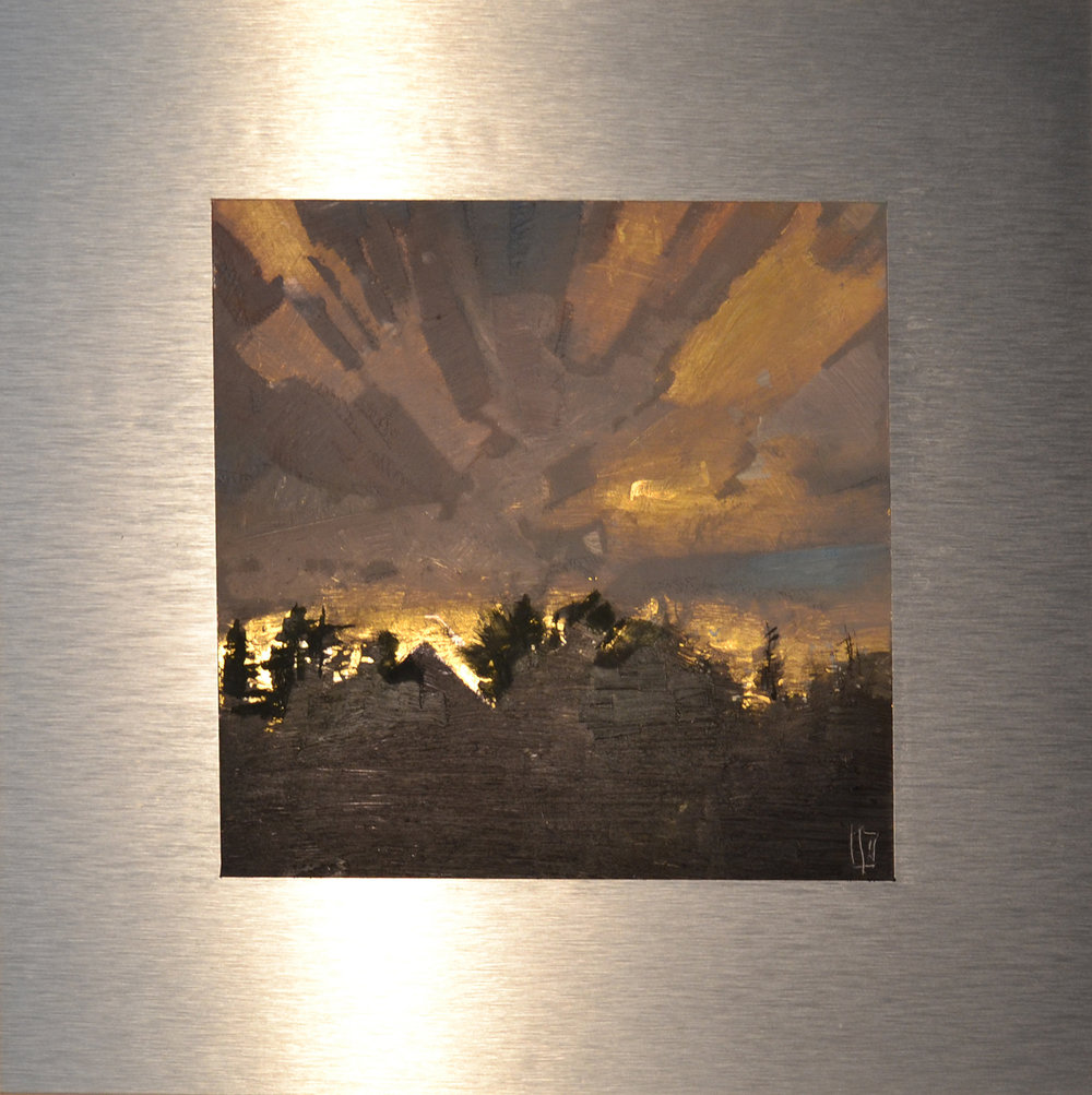 Above the Treetops 7 x 7 oil and 23K gold on aluminum panel  sold