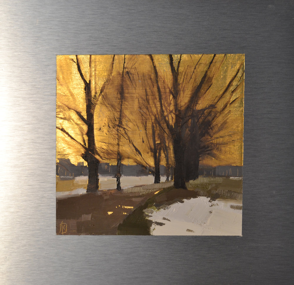 Spring Snow 7 x 7 oil and 23K gold on aluminum  sold