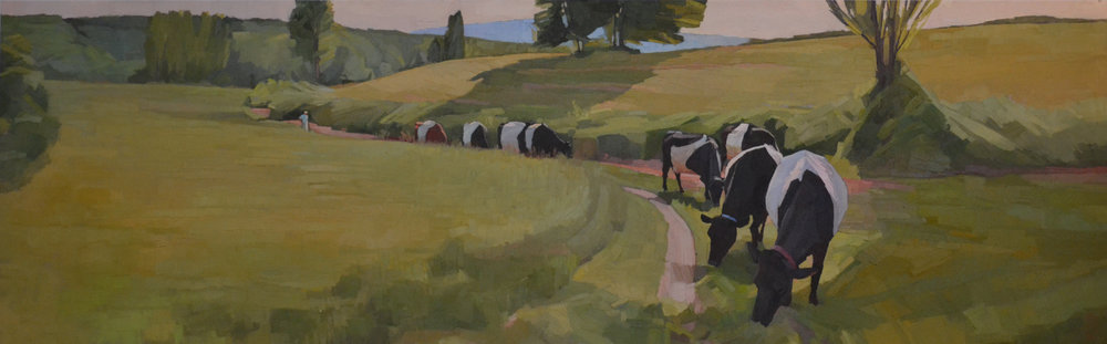 The Good Shepherdess  30 x 96 oil on linen  Commission for Tory and Tom Vallely
