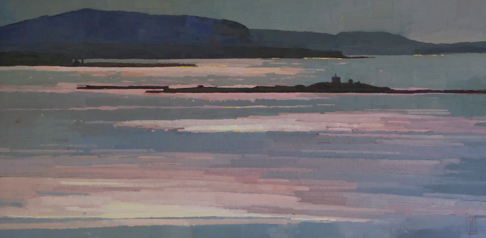 Ocean Sprinkled with Pink Light  12 x 24 oil & gold on cradled wood panel   Islesford Artists