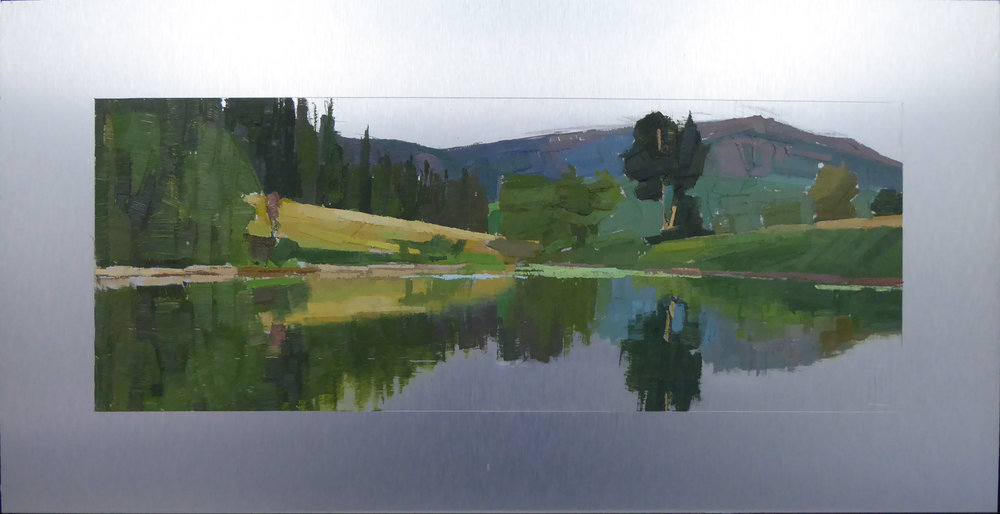 Long Pond Shining  6 x 16 painting  oil on 10 x 20 aluminum panel