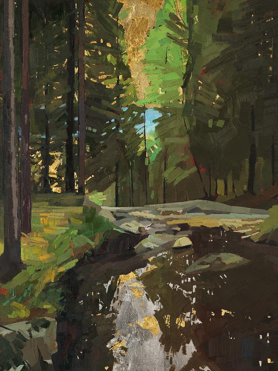 Eli's Creek, Isle Au Haut  18 x 24 oil, gold, palladium on cradled wood panel