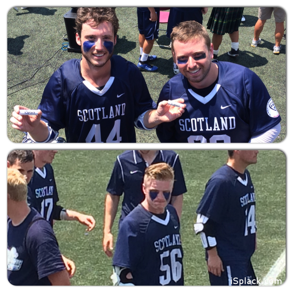Scotland National Lacrosse Team Players sported blue isplack Eyeblack in their FIL World Lacrosse Games.  These pictures were taken after the 90+ degree game on turf.  isplack stayed strong, didn't smear or run and worked hard through the whole game. These players loved it so much they grabbed their sticks and walked over to us to say thank you!.   #44 Ryan Sage-Middle, #88 Dean Stewart-Goalie, #56 Jimmy McBride-Attack