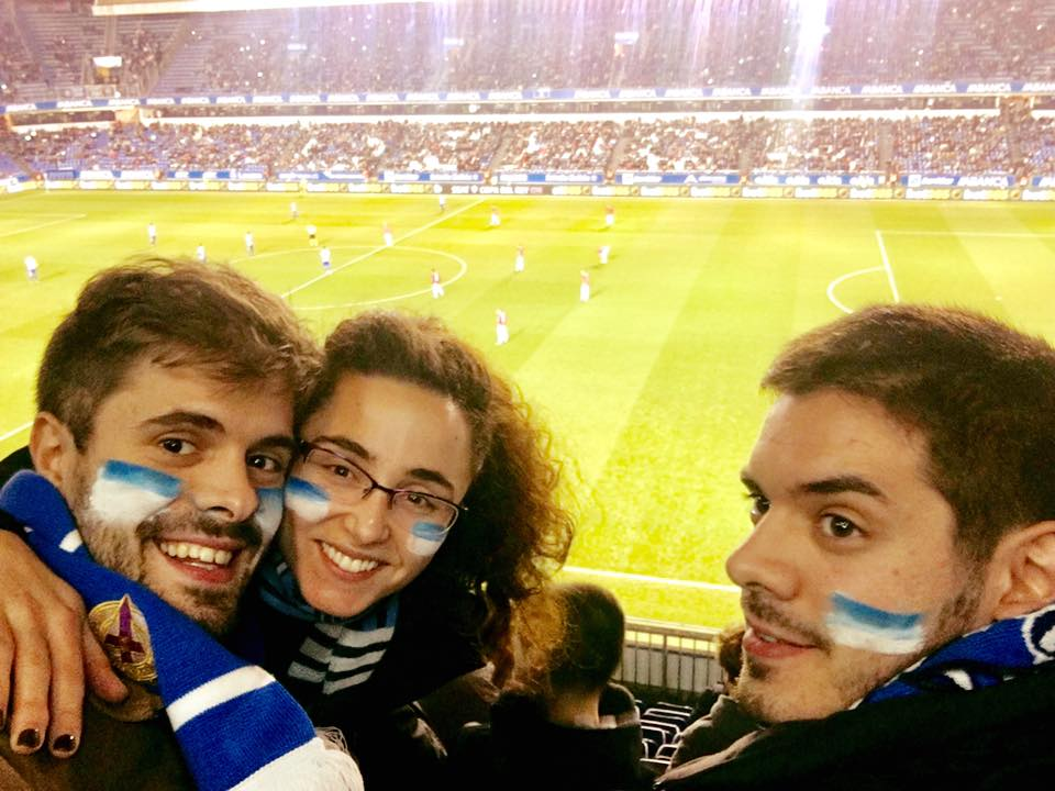 Deportivo fans cheering on their team with Rebel Blue and Flash White isplack.