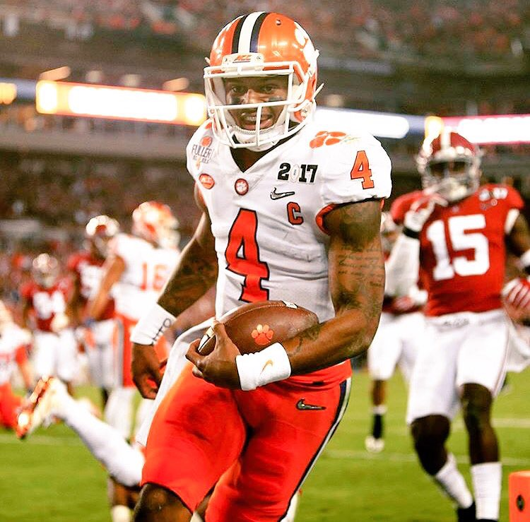 Deshaun Watson smiling after scoring against Alabama. #isplackFaces #BackInBlack