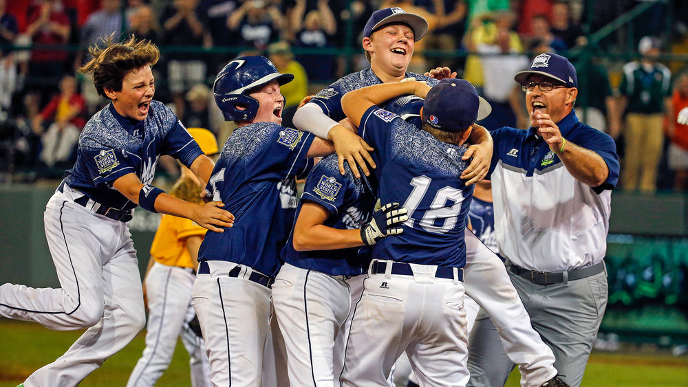 The Pennsylvania Little League team celebrating a win from the 2015 World Series.