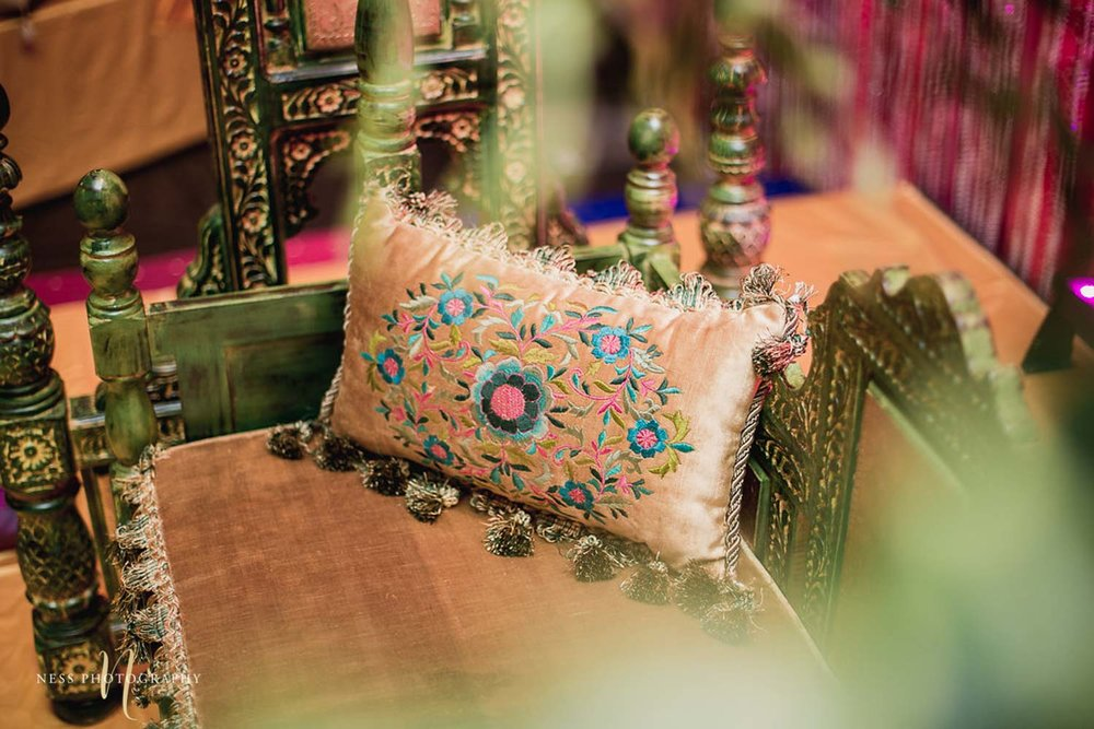mehendi decor using pillows in ottawa