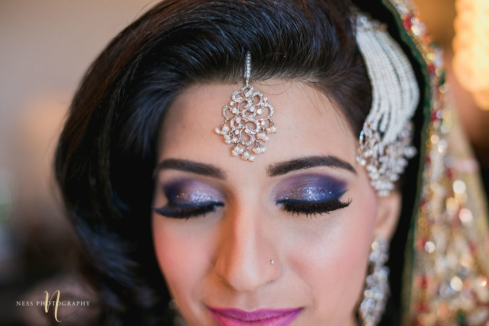 close up of tikka and pakistani bride purpule eye shadow at Shirley Wu beauty concept