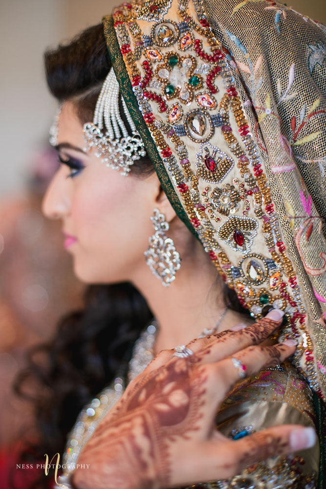 detail close up of pakistani bride's enbroidered dupatta