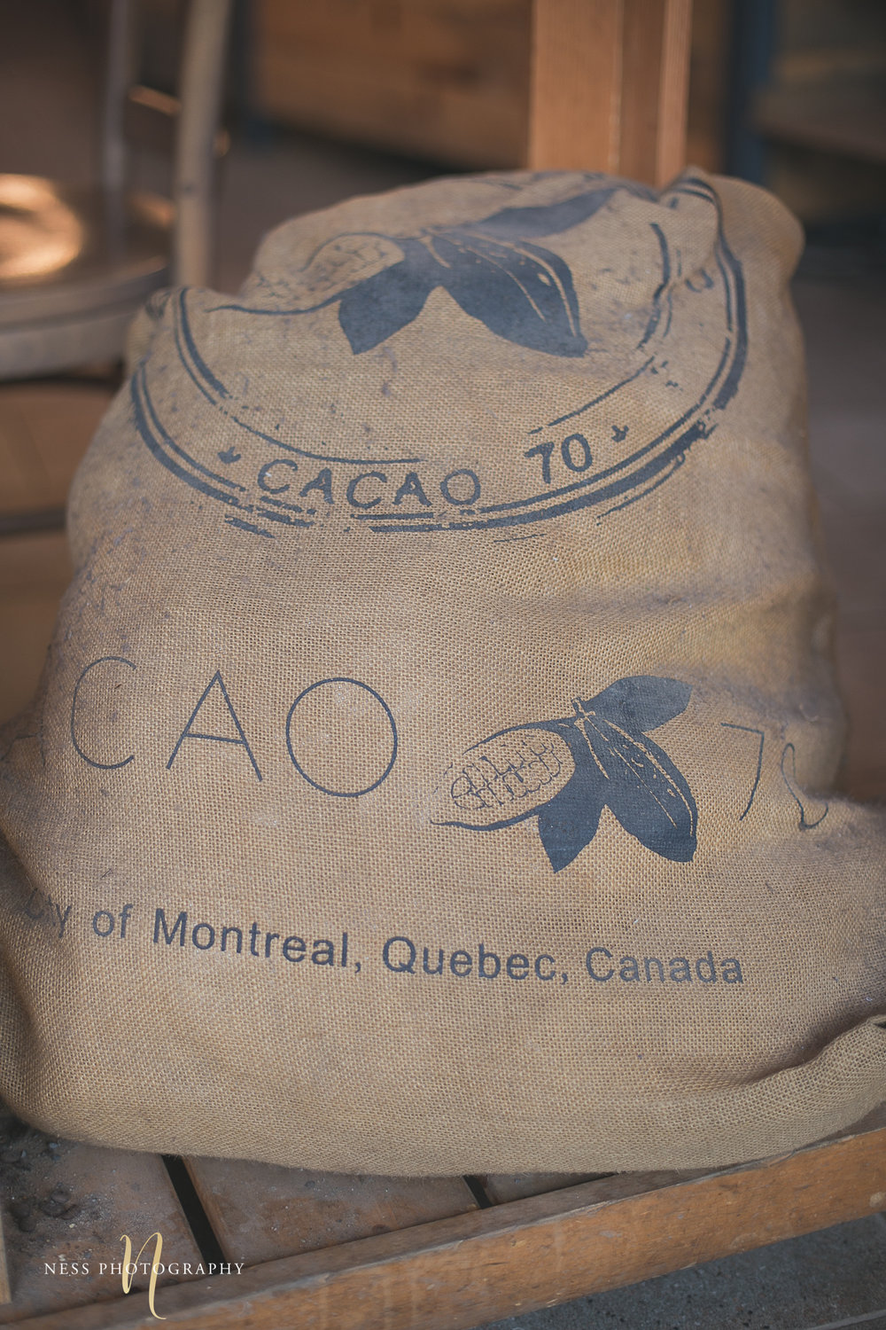 cacao70 bag of cocoa beans during montreal engagement photoshoot