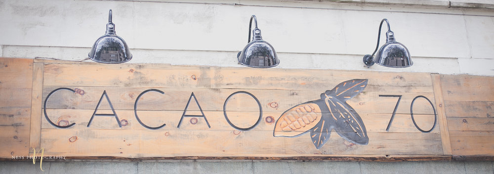Cacao 70 wooden side on saint catherine during Engagement shoot Montreal