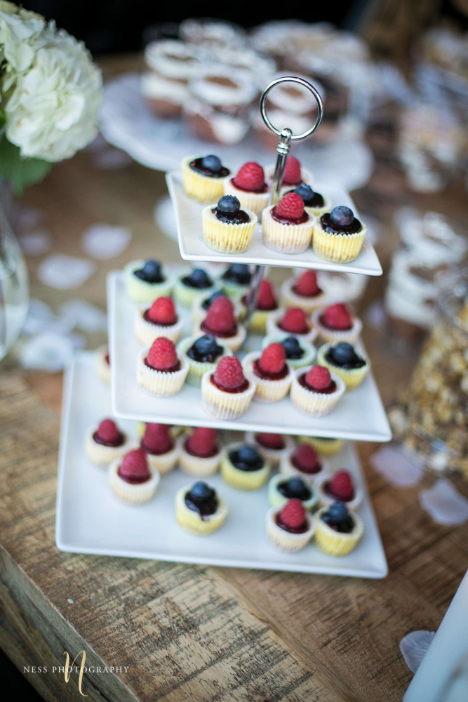 berry cupcakes on multilayer stand at engagement Party in Montreal