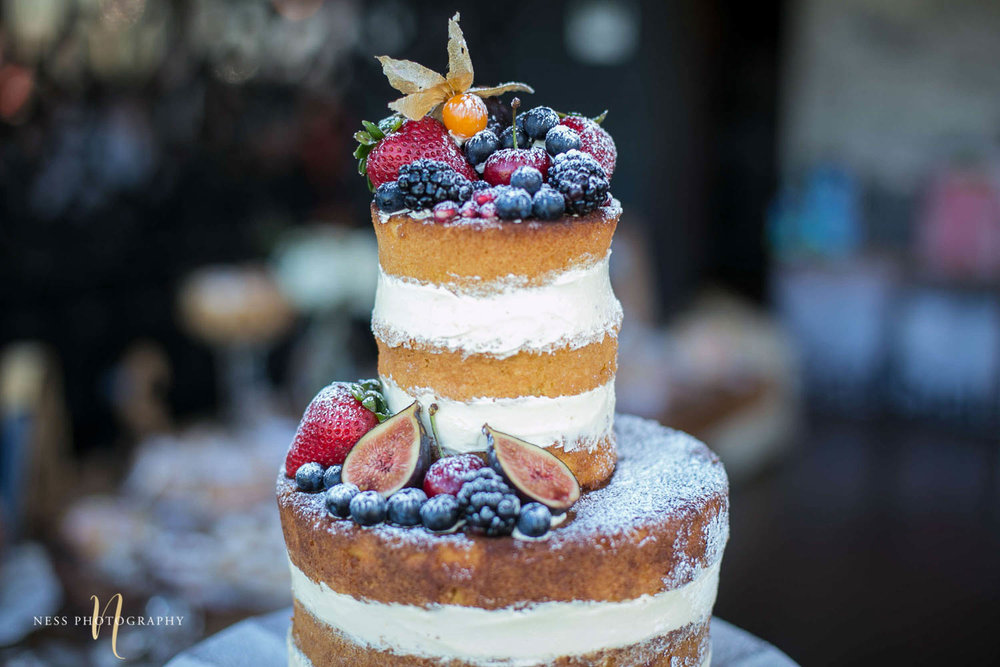 a closeup of fruitso n naked cake with background blurry at engagement Party in Montreal