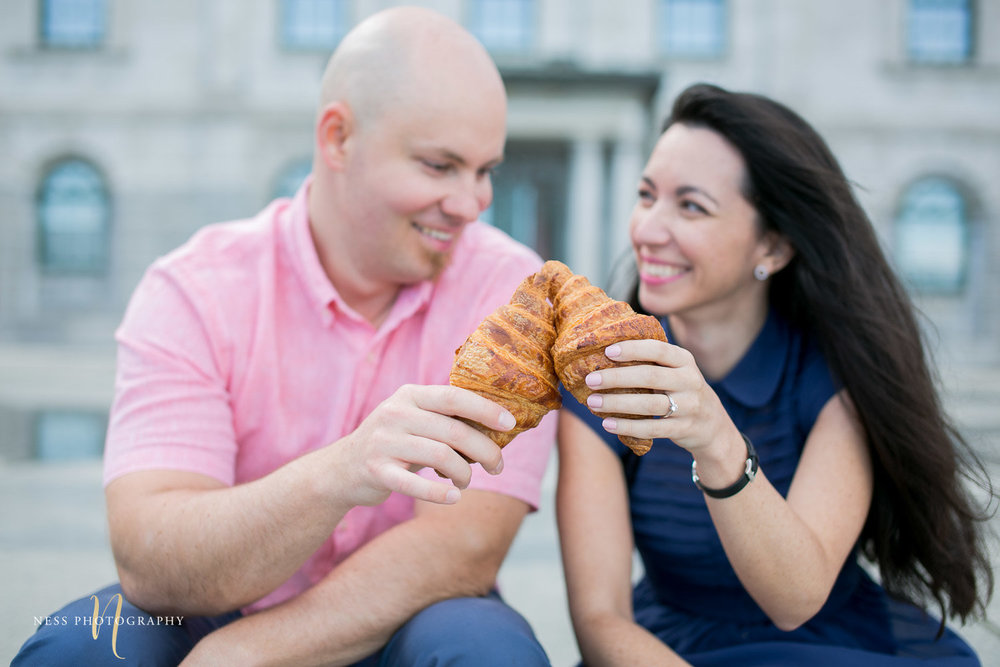 fete du croissant in old montreal from maison christian faure during engagement photoshoot