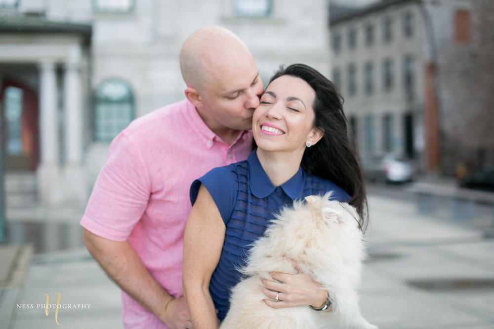 Adelina & Dan Engagement Photos Old Port Montreal with white dog By Ness Photography Wedding and Engagement Photographer 117.jpg