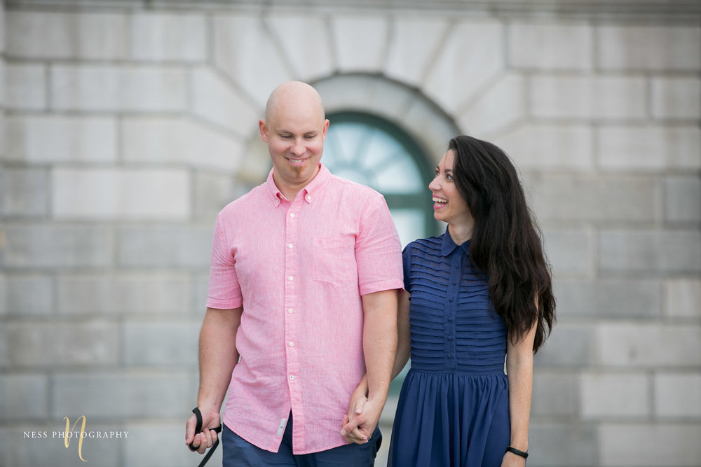 Adelina & Dan Engagement Photos Old Port Montreal with white dog By Ness Photography Wedding and Engagement Photographer 120.jpg