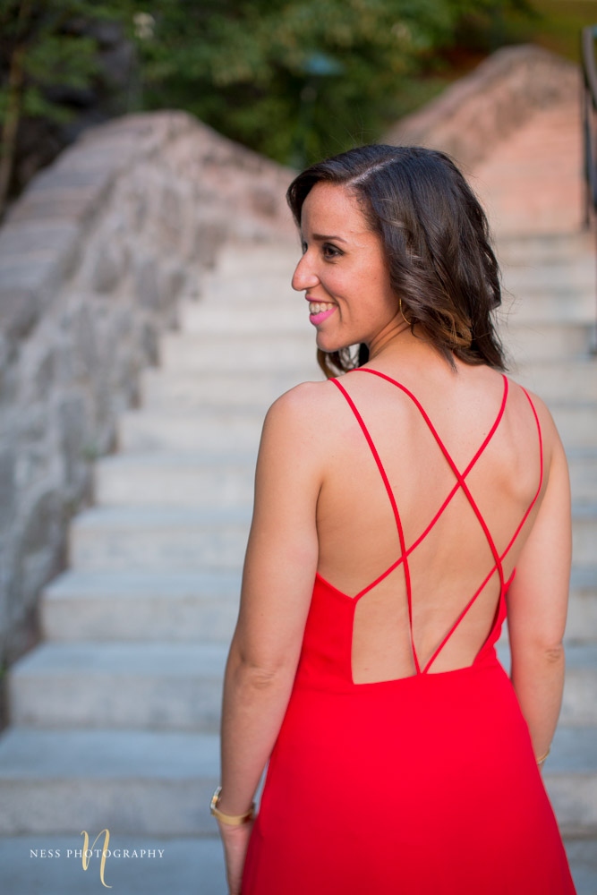 montreal engagement photoshoot in elegant red dress at saint joseph oratory
