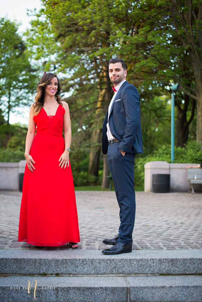 couple standing next to each other in formal elegant montreal engagement session at saint joseph oratory