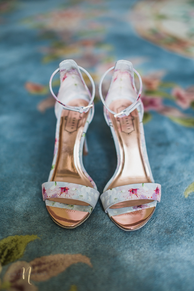 Ted baker floral bridal shoes at the forest and stream club wedding