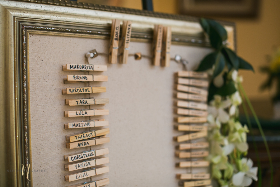 DIY seating chart with cloth pin at the forest and stream club wedding