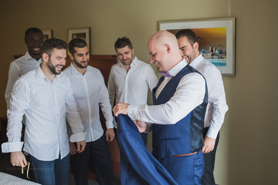 groom getting readt at Wedding at Forest and Stream club by Ness Photography