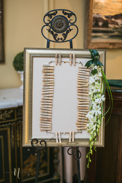 cloth pin seating chart at at Forest and Stream club wedding  by Ness Photography